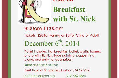 Breakfast with St. Nick – Dec 6th, 8-11am