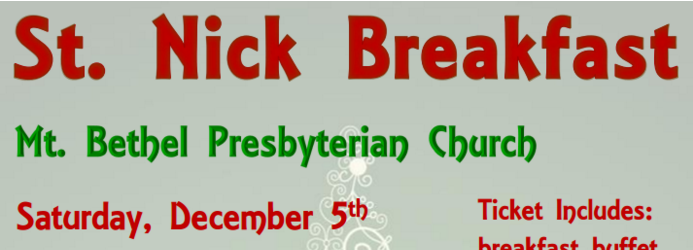 Breakfast with St. Nick – Dec 5th, 8-11am
