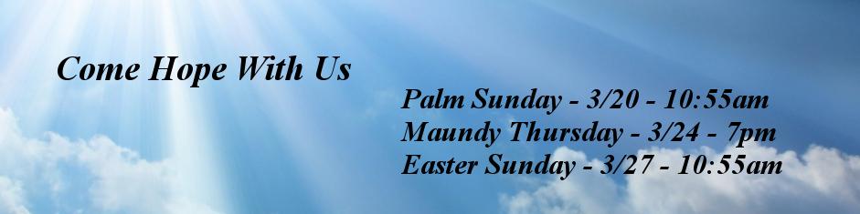 Easter 2016 Schedule