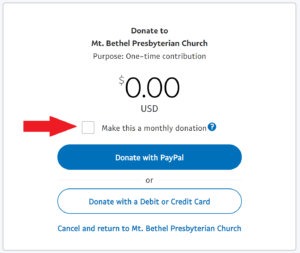 Directions to select monthly giving