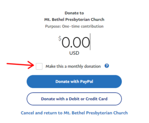 PayPal giving screen